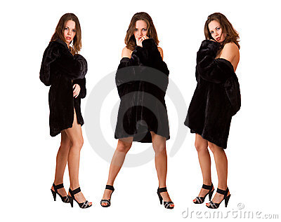 Beautiful sexy triplets girls in fur coat isolated