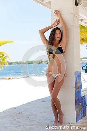 Sexy latin woman in tropical beach