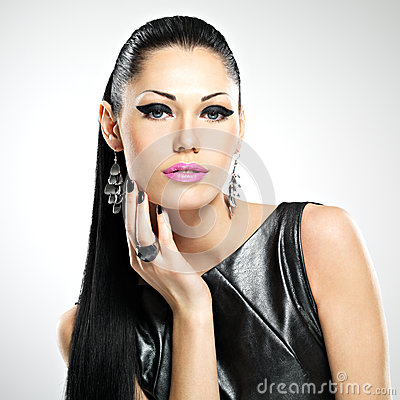 Beautiful sexy  woman with glamour fashion makeup of eyes and gl