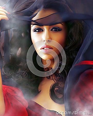 Free Beautiful Sexy Woman In Clubs Of A Smoke Stock Image - 7836381