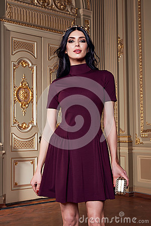 Free Beautiful Sexy Woman In Elegant Dress Fashionable Autumn Collection Of Spring Long Brunette Hair Makeup Tanned Slim Body Figure Ac Stock Photo - 63001910