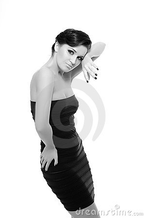 Beautiful sexy woman in short elegant dress