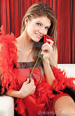 Beautiful Sexy Young Woman Posing With A Red Rose Royalty Free Stock Photography   - Image: 12661777