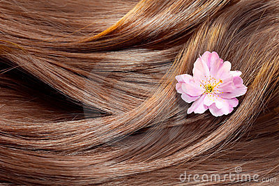 Beautiful shiny hair texture with a flower