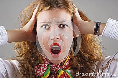 Beautiful shocked woman