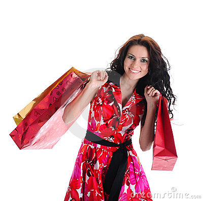 Beautiful Shopping Girl With Bags. Royalty Free Stock Images - Image: 14148879