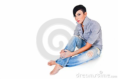 Beautiful short haired young Caucasian woman