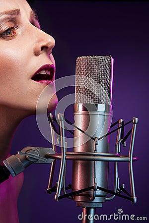 Beautiful singer at concert