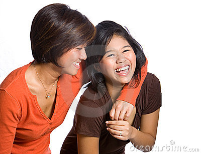 Beautiful sisters from Asian background.