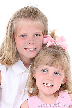 Beautiful Sisters In Pink Over White