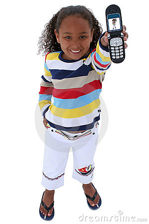 Beautiful Six Year Old With Cellphone Over White