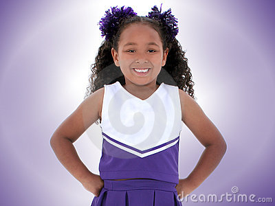 Beautiful Six Year Old Cheerleader Over Purple