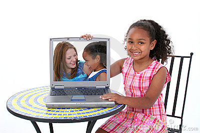 Beautiful Six Year Old Child Showing Off Loved One In Laptop
