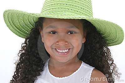 Beautiful Six Year Old Girl In Green Over White