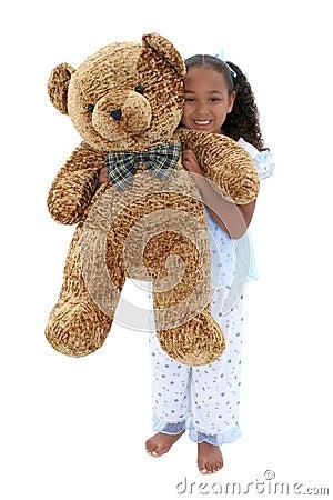 Beautiful Six Year Old Girl In Pajamas With Giant Teddy Bear