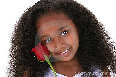Beautiful Six Year Old Girl With Red Rose Over White