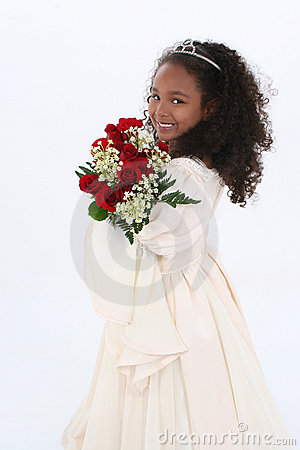 Beautiful Six Year Old Girl With Red Roses In Formal