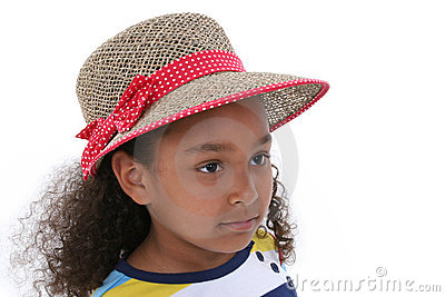 Beautiful Six Year Old Girl In Red And Tan Hat Over White