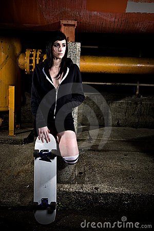 Beautiful skater teen girl