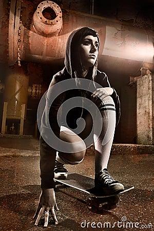 Free Beautiful Skater Teen Girl Royalty Free Stock Images - 10215319