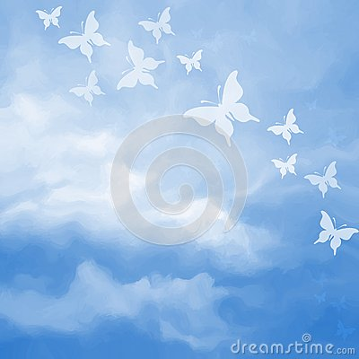 Free Beautiful Sky Drawing With Butterflies Stock Photo - 57600290