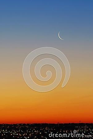 Beautiful sky and moon before sunrise