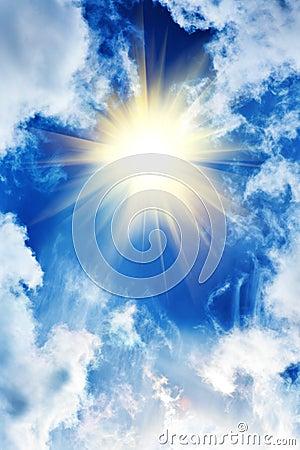 Beautiful Sky With Sun And Clouds Stock Photos Image