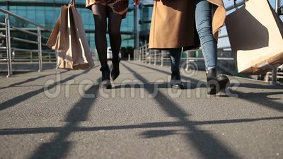 Beautiful slim female legs stepping on bridge stock video footage