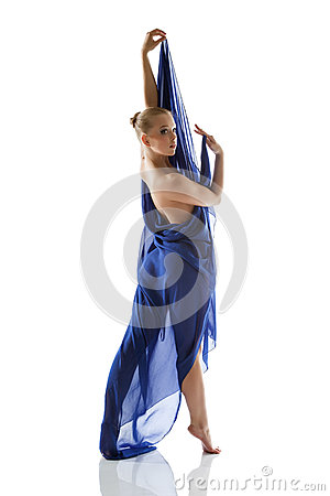 Beautiful slim model posing with blue cloth