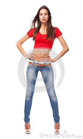 Beautiful slim woman isolated on white background