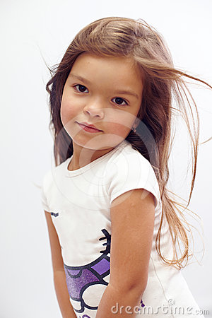 Beautiful small girl with streaming hair studio stock photo image 24578040 - Kleurenkamer klein meisje ...