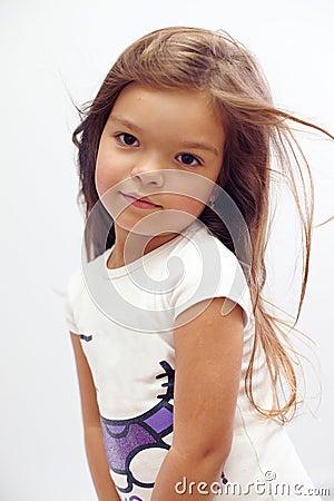 Beautiful small girl with streaming hair studio stock photo image 24578040 - Kleurenkamer klein meisje ...