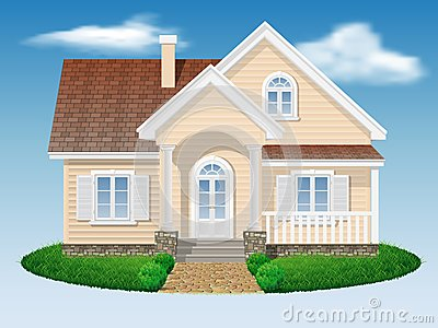 Beautiful small residential house stock vector image for Beautiful residential houses