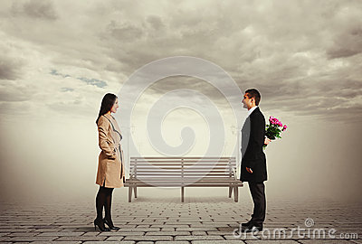 Beautiful smiley couple on the date
