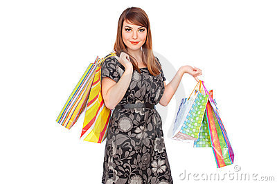 Beautiful smiley woman with shopping bags