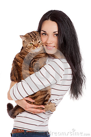 Free Beautiful Smiling Brunette Girl And Her Ginger Cat Over White Ba Royalty Free Stock Photography - 30474387