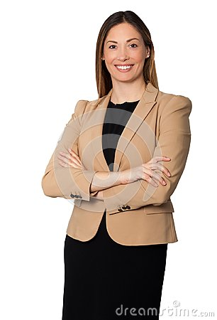 Free Beautiful Smiling Businesswoman Arms Folded Standing Royalty Free Stock Photography - 105189427