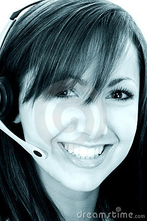 Beautiful Smiling Customer Service Representative In Cyan Tones