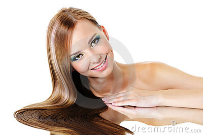 Beautiful smiling female with straight gloss hair