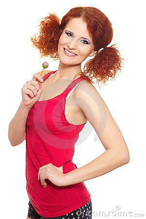 Beautiful smiling ginger woman in red cloth