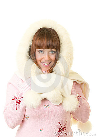 Beautiful smiling girl in warm clothes