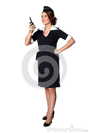 Beautiful smiling stewardess with cb radio, isolated Stock Photo