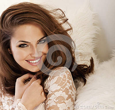 Beautiful smiling woman with amazing eyes portrait