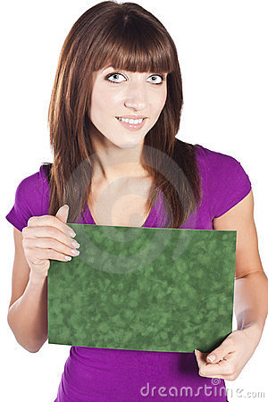 Beautiful, smiling woman holding white card