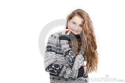 Beautiful smiling woman wearing sweater isolated