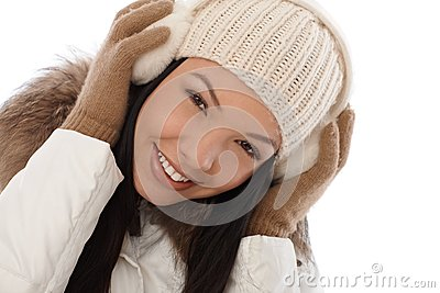 Beautiful smiling woman at winter