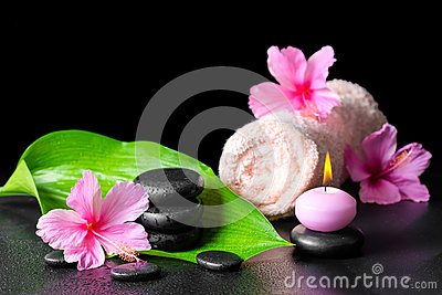 Beautiful spa background of pink hibiscus flowers, green leaf, c Stock Photo