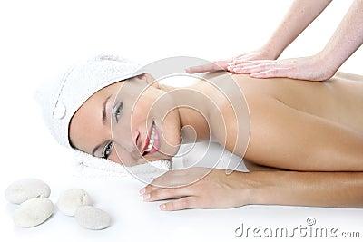 Beautiful spa blue eyes woman having massage