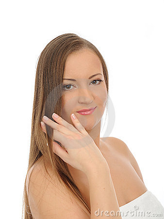 Beautiful spa woman face with long healthy hair