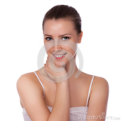 Beautiful Spa Woman Touching her Face